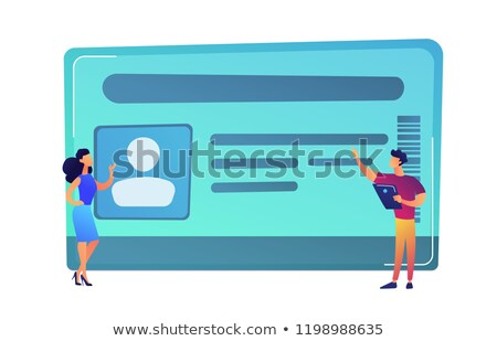 Stock photo: Businessman with tablet and woman pointing at ID card vector illustration.