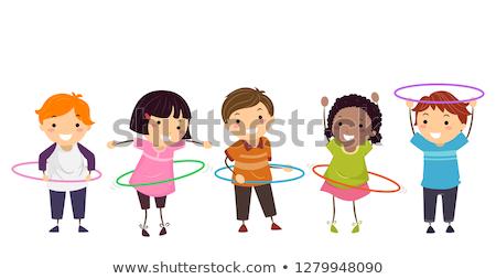 Doodle girl playing hula hoop Stock photo © colematt
