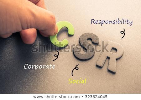 Korporacyjnych społecznej odpowiedzialność tekst niebieski mapie świata Zdjęcia stock © Mazirama