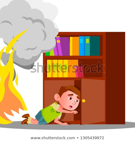 kid boy climbs into cabinet shelf clothes to hide from smoke and fire vector isolated illustration stock photo © pikepicture