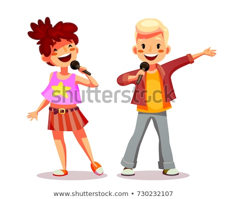 group of children singing into the microphone on stage vector isolated illustration stock photo © pikepicture