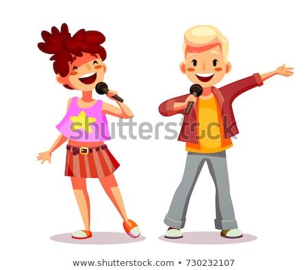 Grupo crianças cantando microfone etapa vetor Foto stock © pikepicture