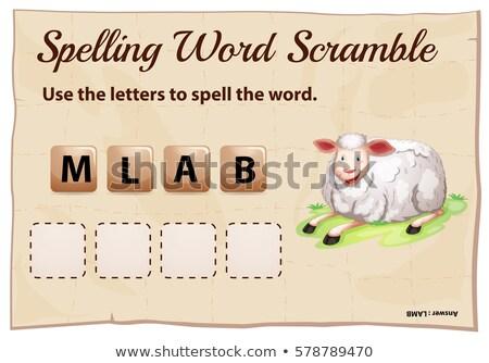 Ortografía palabra plantilla cordero ilustración escuela Foto stock © colematt