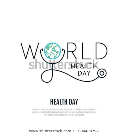 World health day design with stethoscope, banner, poster, healthy lifestyle concept, vector illustra Stock photo © MarySan