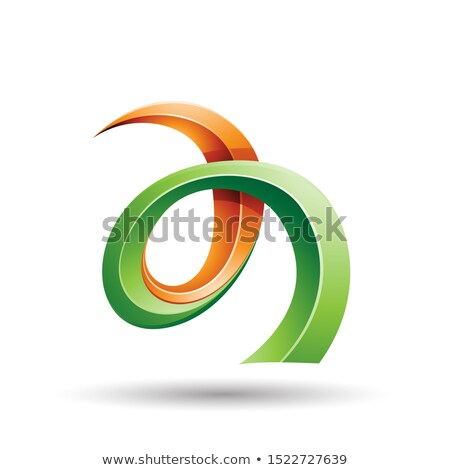 orange and green curled ivy like letter a icon stock photo © cidepix