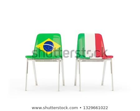 Iki sandalye bayraklar Brezilya İtalya yalıtılmış Stok fotoğraf © MikhailMishchenko