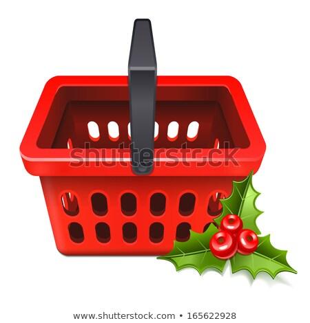 Рождества · продажи · корзина · икона · омела · белая · лист - Сток-фото © sonia_ai