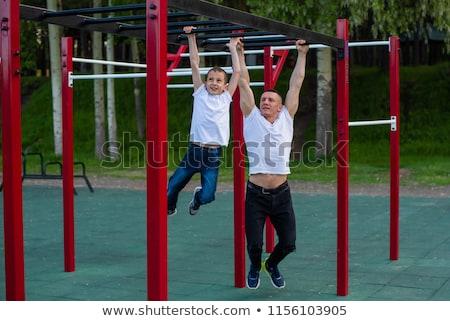 Filho pai rua ginásio parque escolas esportes Foto stock © galitskaya