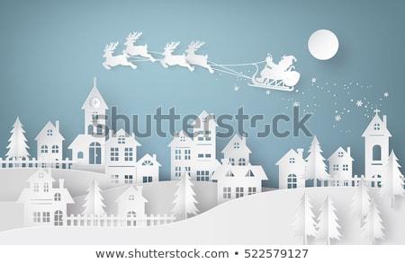 vrolijk · christmas · stad · blauwe · hemel · gelukkig · gezin · buiten - stockfoto © robuart