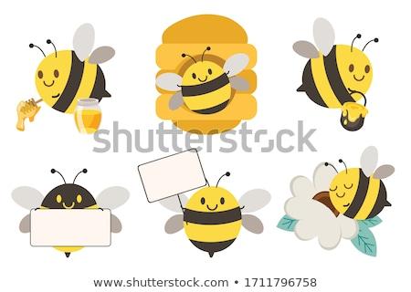 Cute · Bee · иллюстрация · набор · икона · завода - Сток-фото © Blue_daemon