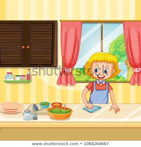матери очистки кухне иллюстрация дома Сток-фото © colematt