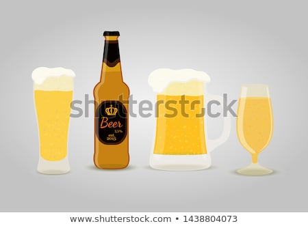 Realistic Bottle And Glass With Frothy Beer Vector Stock photo © pikepicture