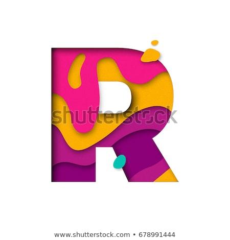 Színes papír kivágás betűtípus r betű 3D 3d render Stock fotó © djmilic