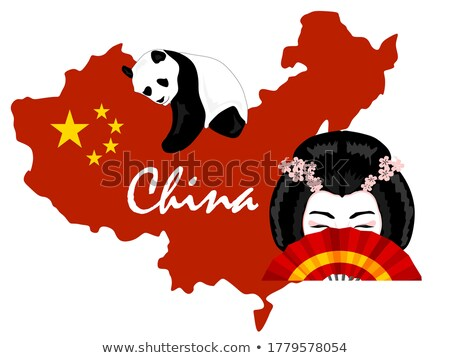 Chinese Elements, Map and Dragon, Fan and Panda Stock photo © robuart