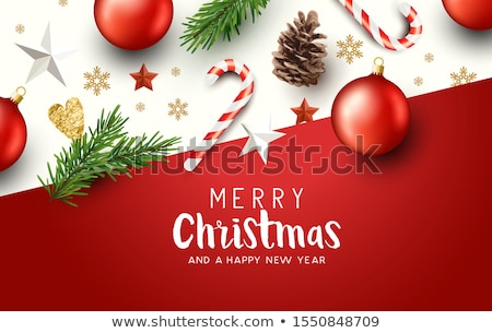 Christmas card with fir tree and baubles Vector. Wooden texture  stock photo © frimufilms