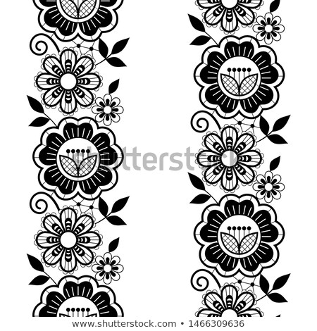 Seamless lace vertivcal long pattern set, monochrome horizontal design with roses, flowers and swirl Stock photo © RedKoala