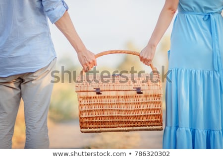 Couple in love walking and holding a picnic basket on nature out Stock photo © Freedomz