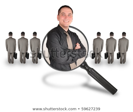 magnifying glass seeking people job search and career choice employment online concept vector ill stock photo © kyryloff