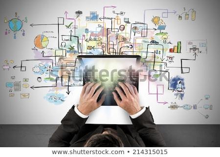 confundirse · empresario · mirando · portátil · oficina · negocios - foto stock © ra2studio