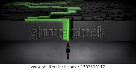 Vrouw donkere labyrint uitdagen klaar Stockfoto © ra2studio