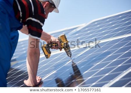 アイソメトリック · 工場 · ソーラーパネル · 制御 · 建物 - ストックフォト © robuart