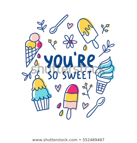 cartoon cute doodles hand drawn ice cream illustration stock photo © balabolka