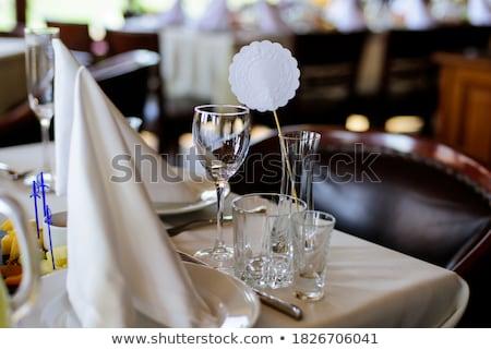 Empty glasses set in restaurant. Catering service concept Stock photo © galitskaya