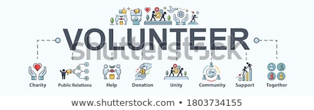 Volunteers Support Minimal Infographic Banner Vector Stock photo © pikepicture