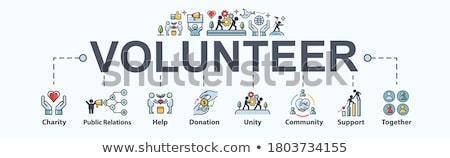 Wolontariusze wsparcia minimalny banner wektora Zdjęcia stock © pikepicture