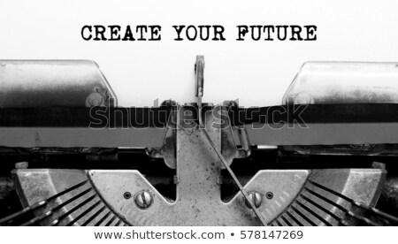 Wat missie schrijfmachine vraag vintage bedrijf Stockfoto © ivelin