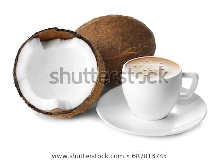 Beker smakelijk kokosnoot koffiekopje koffie ingericht Stockfoto © grafvision