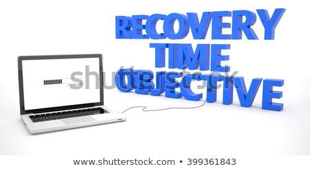Gyógyulás idő cél szöveg kék világtérkép Stock fotó © Mazirama