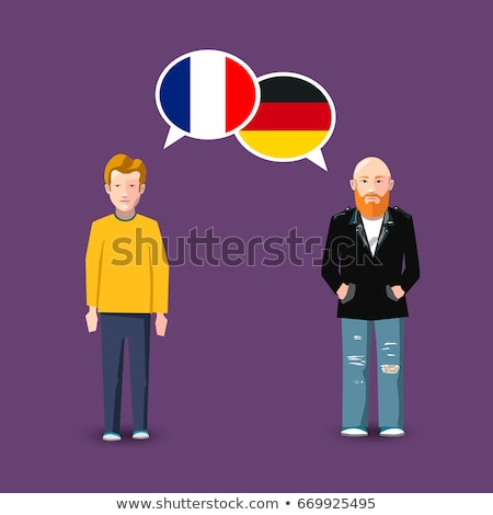 Two people with white speech bubbles with France and Germany flags. Language study concept illustrat Stock photo © evgeny89