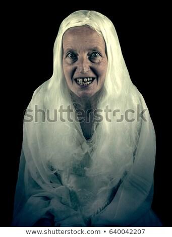 Oude dame abstract eten cake partij gezicht Stockfoto © SimpleFoto