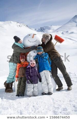 три · снеговик · женщину · девушки · улыбка - Сток-фото © Paha_L