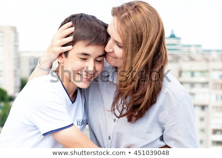 Foto stock: Retrato · mamá · hijo · blanco · mujer · familia
