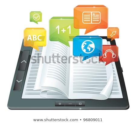 携帯 図書 多くの アプリケーション アイコン 現代 ストックフォト © pkdinkar