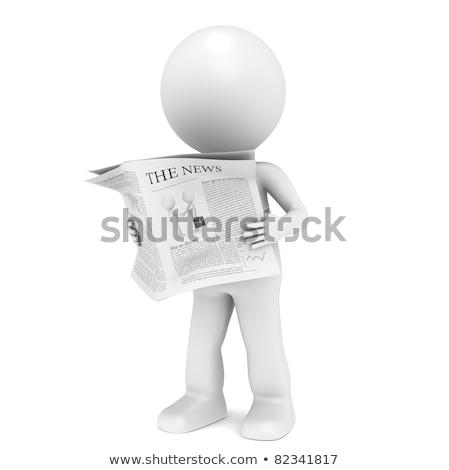 Hírek 3D kicsi emberi karakter olvas Stock fotó © dacasdo