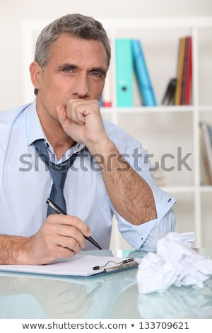 Homem doente estresse caneta tabela Foto stock © photography33