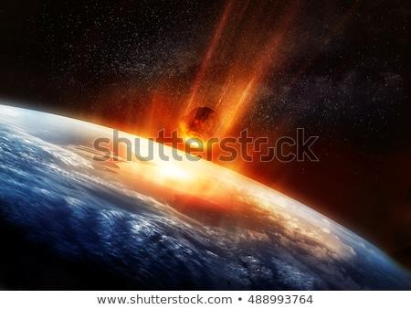 Meteoor explosie aarde 3D gerenderd illustratie Stockfoto © Spectral
