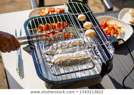 ao · ar · livre · churrasco · milho · grelha · comida · carne - foto stock © hofmeester