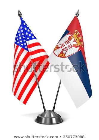Minyatür bayrak Sırbistan yalıtılmış toplantı Stok fotoğraf © bosphorus