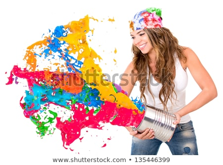 Woman with paint cans stock photo © photography33