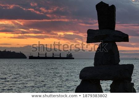 Silhouet selectieve aandacht voorgrond zonsondergang hemel zon Stockfoto © Gordo25