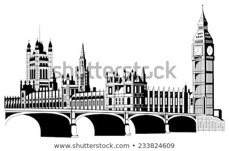 Big Ben casa parlamento preto e branco edifício relógio Foto stock © Slobelix