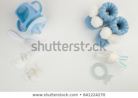 Foto stock: Bebê · chupeta · conjunto · branco · isolado