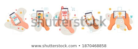 At Email Button Showing Online Messaging Stock photo © stuartmiles