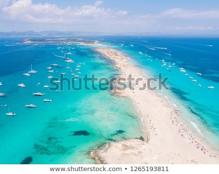 beyaz · tekneler · yelkencilik · turkuaz · deniz · güzellik - stok fotoğraf © lunamarina