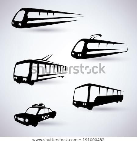 автобус такси знак синий цвета Сток-фото © zkruger