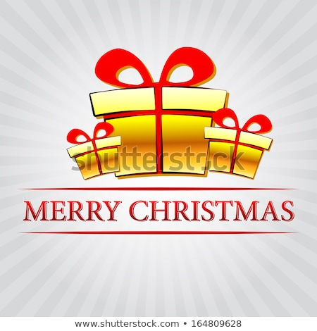 merry christmas with golden gift box over silver rays Stock photo © marinini